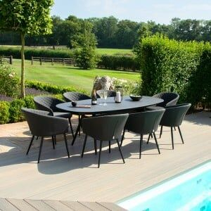 Maze Lounge Outdoor Fabric Ambition Charcoal 8 Seat Oval Dining Set