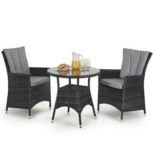 Maze Rattan Garden Furniture LA 2 Seat Grey Round Bistro Set