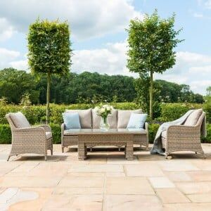 Maze Rattan Garden Furniture Cotswolds 3 Seat Sofa Dining with Rising Table