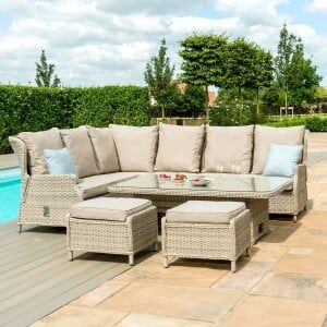 Maze Rattan Garden Furniture Cotswolds Reclining Corner Dining with Rising Table