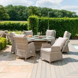 Maze Rattan Garden Furniture Cotswolds Reclining 6 Seat Round Dining Set
