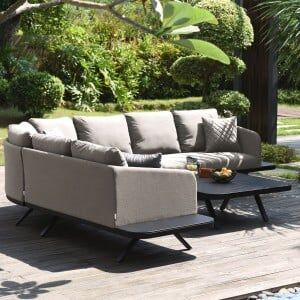 Maze Lounge Outdoor Fabric Cove Taupe Corner Sofa Group