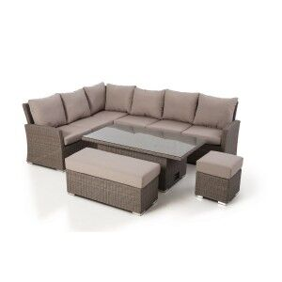 Maze Rattan Garden Furniture Harrogate Rectangular Corner Dining Set with Rising Table