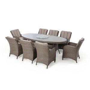 Maze Rattan Garden Furniture Harrogate 8 Seat Oval Dining Set with Weatherproof Cushions