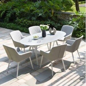 Maze Lounge Outdoor Fabric Zest Lead Chine 6 Seat Oval Dining Set