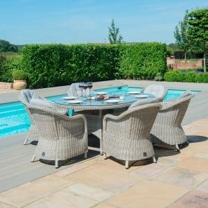 Maze Rattan Garden Furniture Oxford 6 Seat Oval Fire Pit Table with Heritage Chairs