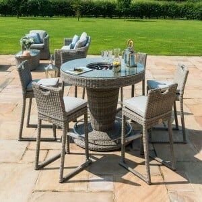 Maze Rattan Garden Furniture Oxford 6 Seat Round Bar Set with Ice Bucket