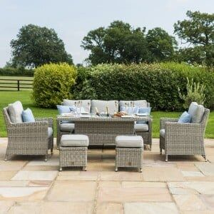 Maze Rattan Garden Furniture Oxford Venice Sofa Dining Set with Ice Bucket & Rising Table