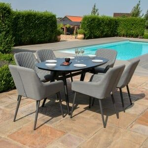 Maze Lounge Outdoor Fabric Zest 6 Seat Oval Dining Set in Flanelle
