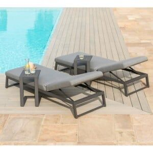 Maze Lounge Outdoor Fabric Allure Sunlounger 3 Piece in Flanelle