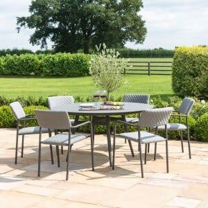 Maze Lounge Outdoor Fabric Bliss 6 Seat Round Dining Set in Flanelle