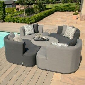 Maze Lounge Outdoor Fabric Snug Lifestle Suite with Rising Table in Flanelle