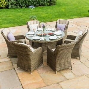 Maze Rattan Garden Furniture Winchester Round Table with 6 Venice Chairs & Ice Bucket