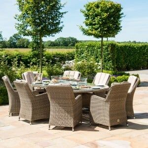 Maze Rattan Garden Furniture Winchester 8 Seat Oval Fire Pit Table with Venice Chairs
