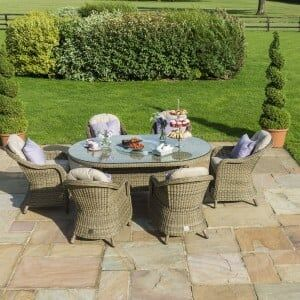 Maze Rattan Garden Furniture Winchester Oval Table with 6 Round Chairs & Ice Bucket