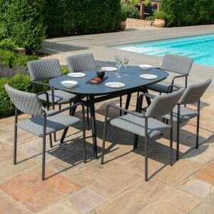 Maze Lounge Outdoor Fabric Bliss Flanelle 6 Seat Oval Dining Set