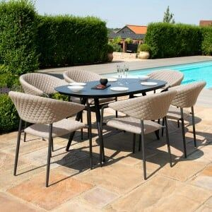 Maze Lounge Outdoor Fabric Pebble Taupe 6 Seat Oval Dining Set