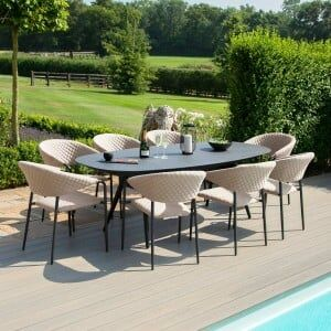 Maze Lounge Outdoor Fabric Pebble Taupe 8 Seat Oval Dining Set