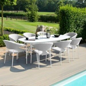 Maze Lounge Outdoor Fabric Pebble Lead Chine 8 Seat Oval Dining Set