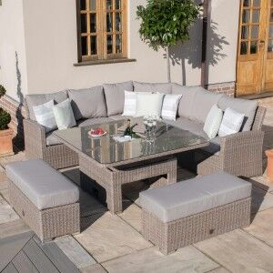 Maze Rattan Garden Furniture Harrogate Deluxe Corner Dining Set with Rising Table & Ice Bucket