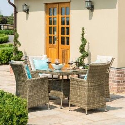 Maze Rattan Garden Furniture Tuscany LA 4 Seat Square Dining Set