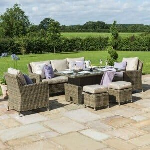 Maze Rattan Garden Furniture Winchester Sofa Dining Set With Rising Ice Bucket Table