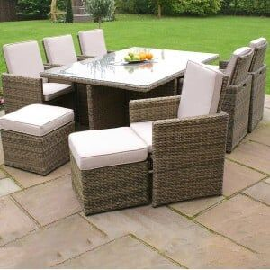 Maze Rattan Garden Furniture Winchester 7 pcs Cube Set with Footstools