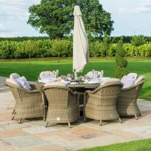 Maze Rattan Garden Furniture Winchester 8 Seater Round Dining Set