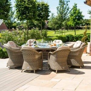 Maze Rattan Gaden Furniture Winchester 8 Seat Round Fire Pit Table with Rounded Chairs