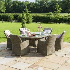 Maze Rattan Garden Furniture Winchester 6 Seat Oval Ice Bucket Dining Set with Venice Chairs & Lazy Susan
