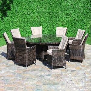 Maze Rattan Garden Furniture LA Brown 8 Seater Round Dining Table Set