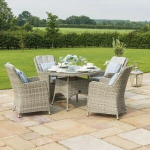 Maze Rattan Garden Furniture Oxford 4 Seat Round Dining Set With Venice Chairs