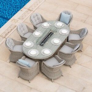 Maze Rattan Garden Furniture Oxford 8 Seat Oval Fire Pit Table & Heritage Chairs