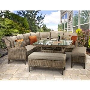 Signature Weave Garden Furniture Diana Corner Dining Sofa With Stools