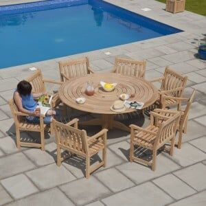 Alexander Rose Roble Garden 8 Broadfield Armchair & Round Table Set