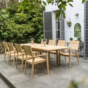 Alexander Rose Roble Garden 8 Stacking Armchair & Extending Table Set