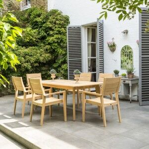 Alexander Rose Roble Garden 6 Stacking Armchair & Extending Table Set
