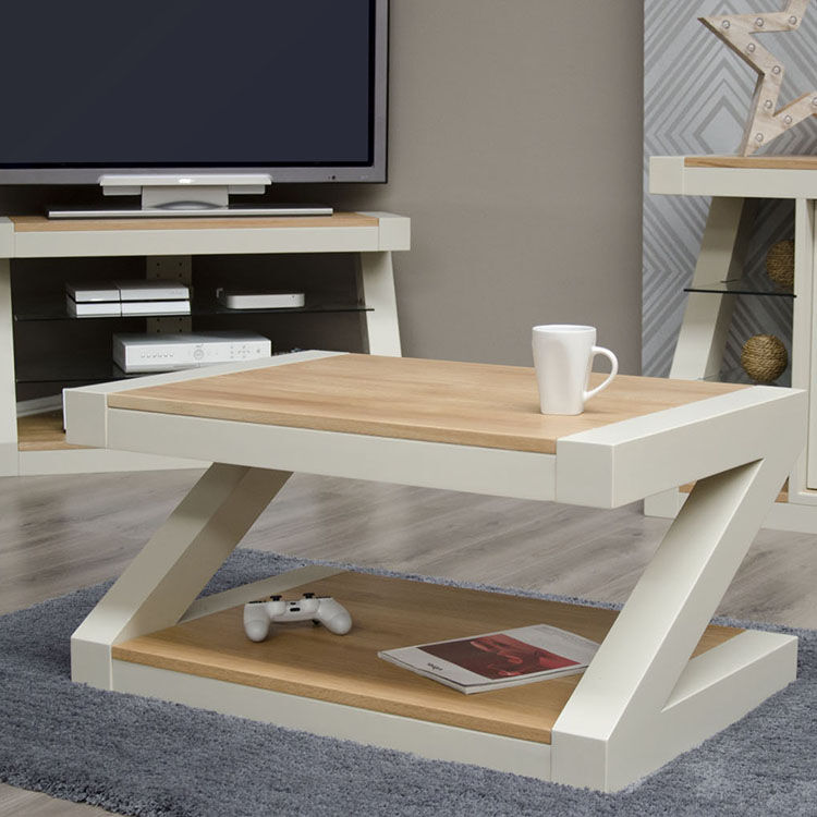 Z Solid Oak Grey Painted Furniture Coffee Table
