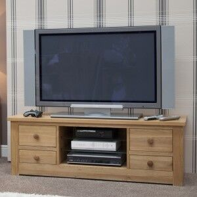 Torino Solid Oak Furniture Large Plasma Unit