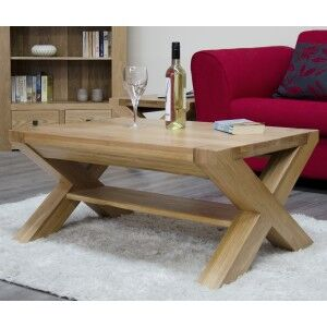 Trend Solid Oak Furniture X-Leg 3ft x 2ft Coffee Table