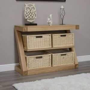 Z Solid Oak Furniture Basket Console Table