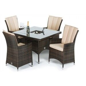 Maze Rattan Garden Furniture LA Brown 4 Seat Square Dining Set with Ice Bucket