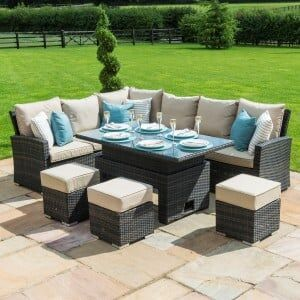 Maze Rattan Garden Furniture Kingston Brown Corner Dining Set With Rising Table