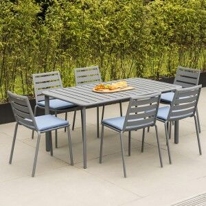 Alexander Rose Fresco Garden Flint 6 Side Chair & Aluminium Table Set