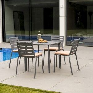 Alexander Rose Fresco Garden Flint 4 Side Chair & Aluminium Table Set