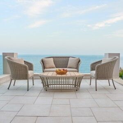 Alexander Rose Cordial Garden Beige Curved 2 Seater Sofa Lounge Set
