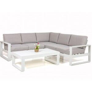 Maze Rattan Garden Furniture Amalfi White Small Corner Group