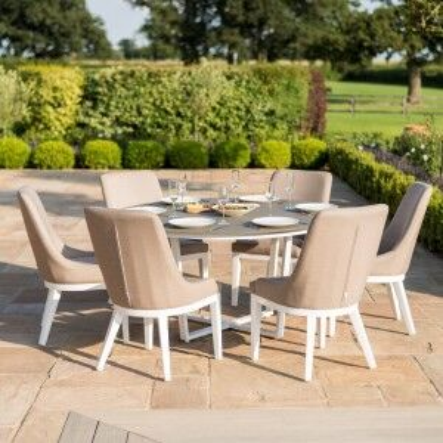 Maze Rattan Garden Furniture Pacific White 6 Seat Round Dining Set