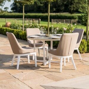 Maze Rattan Garden Furniture Pacific White 4 Seat Round Dining Set