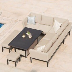 Maze Lounge Outdoor Fabric Pulse Taupe Rectangular Corner Dining Set with Rising Table